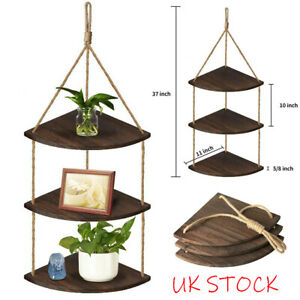 Rustic Hanging Swing Corner Shelves Wood Rope Ladder Floating Shelf Storage UK