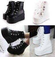 Women's Punk High Flatform Gothic Lace Up Flat Ankle Combat Boots Size UK2.5-8