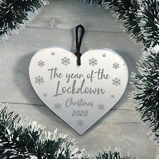 Lockdown 2020 Memory Christmas Tree Bauble Engraved Heart Xmas Decoration
