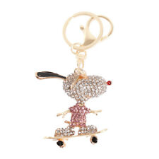 Skateboard Dog Sunglasses Lovely Charm Crystal Purse Bag Key Chain Creative Gift