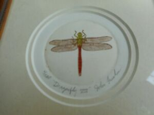 hand painted Dragonfly etching, # 6/15 AP, signed Furches, in nice wooden frame