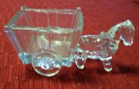 VINTAGE ♡ CANDY CONTAINER GLASS HORSE WITH CART
