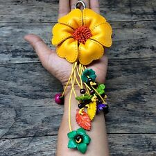 Big Yellow Genuine Leather Keychain KeyRing Handmade Flower Charm Purse Floral