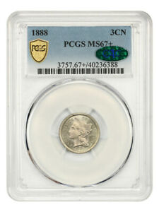 1888 3cN PCGS/CAC MS67+ Low Mintage Date - 3-Cent Nickel - Low Mintage Date