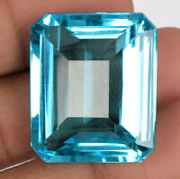 81.50 Ct Swiss Blue Topaz Faceted Emerald Cut Loose Gemstone For Jewelry BV-625