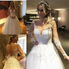 Beading V Neck A-line Long Sleeve Wedding Dresses