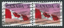 Canada Scott 1185a, 5c Flag Pair with scarce perf 12.5 x 13, Roller cancel, VF