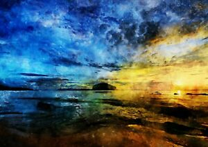 """Beach at sunset watercolour painting unique gift (Print) 5""""x7"""""""