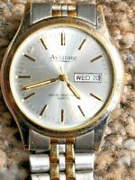 Vintage Aviatime Date/Day 188902 Gents Watch 2-Tone Stainless Steel Bracelet