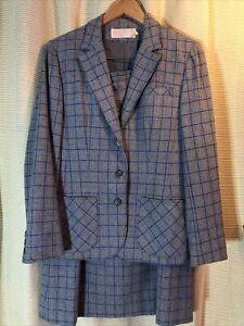 Vintage 70s 80s PENDLETON Blue Wool Plaid Tweed Suit Jacket & Skirt Sz S/M