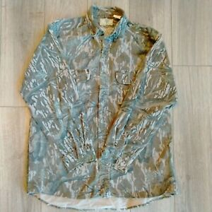 Vintage Mossy Oak Camo Long Sleeve Button Down Flannel Size Large Fade Worn Vtg