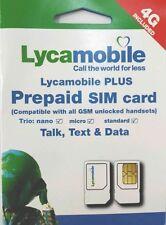 BRAND NEW LYCAMOBILE TRIPLE (REGULAR, MICRO, NANO) SIM CARD