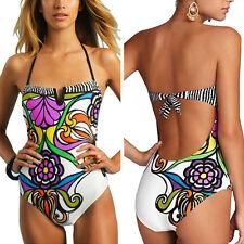 Sexy Damen Geblümt V-Ausschnitt Bikini Push UP Monokini Badeanzug Bademode
