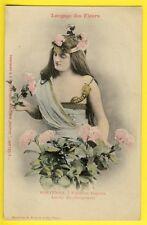 """cpa BERGERET Dos 1900 FEMME Langage des FLEURS """"HORTENSIA"""" Journal L'ECLAIR"""