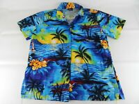 Royal Creations Mens Large Multi Color Hawaiian Floral Short Sleeve Shirt