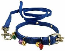 Indian Cat Collar Belt & Leash with Bells Blue (Extra Small) , Cat strap ,