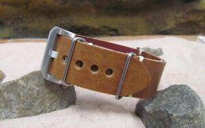 The Ballistic Vintage Leather Strap w/ Brushed Pre-V Buckle Hardware