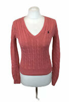 Ralph Lauren Sport Jumper Pink Chunky Cable Knit V Neck Small Womens