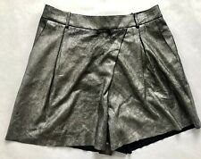 Halston Heritage Metallic Suede Shorts in Metallic Graphite - Size 2 NWT