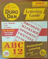 2 Sets vtg DURO DAN Roman LETTERING GUIDE~1966 ART~Reuseable STENCIL no 20 & 22
