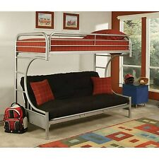 Eclipse Twin Over Full Futon Bunk Bed  Silver Mattress & Full Futon not included