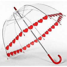 Red HEART Love Trim Clear Dome See Through Bubble Umbrella