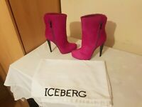 ICEBERG Fur pink Heel Ankle Boots Size EU 36 Made in Italy Rare