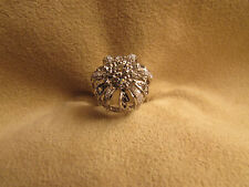 N.O.S.  Vintage Lady's Sterling Silver Large Cluster Clear Cubic Zirconia Ring