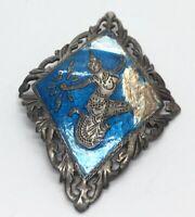 Vintage Sterling Silver Brooch Pin 925 Siam Enamel Repair