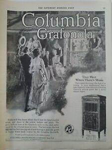 1919 Columbia grafonola standard phonograph meet where there's music ad