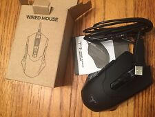 Wired Computer Laptop Tablet Mouse Black With Cord USB Port Model T7 New In Box!