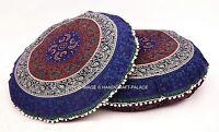 Mandala Imprimé Pouf Indien Coton Bleu Pom Dentelle Coussin Décor Boho 2 Pièces