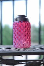 Victorian Cranberry Opalescent Ruby Ribbed White Lattice Sugar Shaker Mufineer