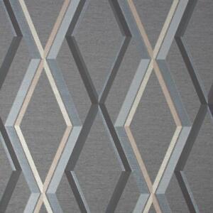 Superfresco Prestige Geometric Wallpaper Charcoal Gold Textured Metallic Vinyl