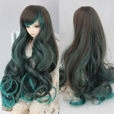BJD SD Doll Hair 1/6 DZ DOD LUTS Green Brown Ombre Wigs Long Wavy Curly Full Wig