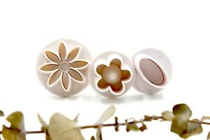 3pc Baking / Polymer Clay Tool Flowers & Oval Cookie Cutters / Fondant Plunger