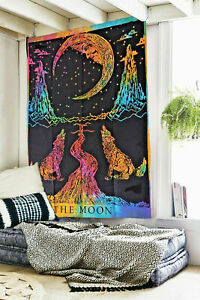 Tapestry The Moon Crying Wolf Bedspread Twin Wall Hanging Dye Dorm Decor Throw