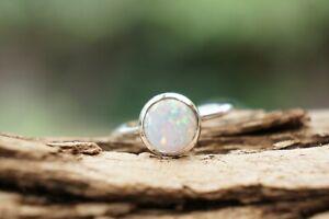 Sterling Silver Ring Opal Gemstone 925 Fine Silver Handmade Ring