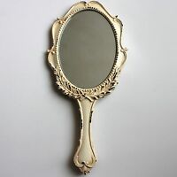 Large Antique Vintage Distressed Cream Romantic Handheld Mirror Shabby Chic Gift