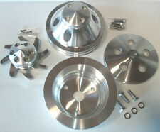 SB Chevy SBC Billet 2 Groove / Belt Long Water Pump Pulley Kit 1969 - 74 327 350