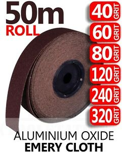 50m ROLL ALL GRITS Emery Cloth Aluminium Oxide Sanding Paper Sheet Metalworking