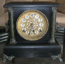 ANTIQUE CLOCK WOOD  ORNATE MANTEL SESSIONS EN WELCH MFG CATHEDRAL  U.S.A