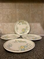 "Vintage Set Of 4 Temper Ware By Lenox Floral Fantasy Salad Plates 8"" In Diameter"