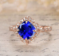 14K rose gold over 2.50carat blue sapphire cushion cut solitaire engagement ring