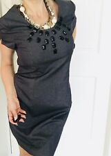 BASQUE WOMENS DRESS TAILORED LINED CHARCOAL BEADS ZIP NEW SZ 14
