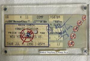 NY Yankees Stadium Ticket Signed by JIMMY KEY / EDDIE LAYTON