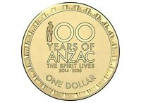 1x 2017 $1 'The Spirit Lives' 100 Years Of ANZAC UNC Coin from RAM bag