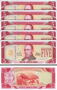 Liberia 5 Dollars 2003, UNC, 5 Pcs LOT, Consecutive, P-26a