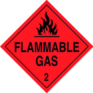 Flammable Gas Class 2 Label Warning Sticker DECAL size: 300 x 300mm (20 pcs)