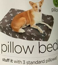 Pillow Dog Bed - Stuff it with 3 Standard Pillows - Grey Mollymutt - 100% Cotton